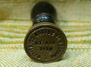 Antique Brass & Wood Sutton Coldfield Health Dept Sealing Wax Stamp Seal