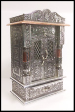SMALL OXODIZED WOODEN HINDU POOJA / PUJA TEMPLE MANDIR SHRINE 10 x 6 x 16 INCHES