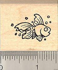 cutest little goldfish rubber stamp B7710 Wm fish