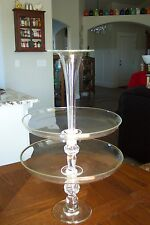 Vintage Three Piece Tiered Clear Blown Glass Epergne FREE SHIPPING