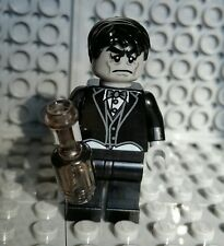 LEGO ZOMBIE MINIFIGURE BUTLER Halloween Monster Man Black Hair/Wine Bottle NEW