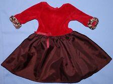 American Girl Doll CHERRY CHOCOLATE DRESS Red & Brown Dress Animal Print Sleeve