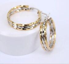 Triple rim two tone gold plated stainless steel 1 inch hoop earrings
