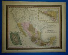 1849 Mitchell New Universal Atlas Map ~ TEXAS - MEXICO - GUATEMALA Old Authentic