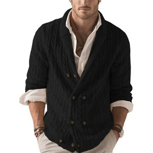 Mens Double Breasted Lapel Collar Knitted Sweater Cardigan Casual Jumpers Coat