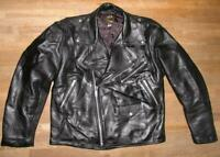 Strong: Superior Men's Leather Jacket/Biker Jacket IN Black Size XL Approx. 52