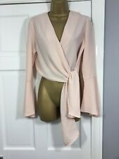 River Island Baby Pink Flute Sleeve Tie Front Top Size 12