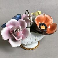 CAPODIMONTE Porcelain Flowers Basket Arrangement Roses Bouquet Home Ornament