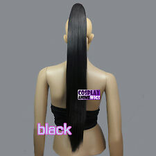 Black 65cm Heat Resistant Cosplay Straight Clip-On Ponytails 3_001