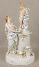 Marvelous Antique German Volkstadt Porcelain Group Young Girl & Putty
