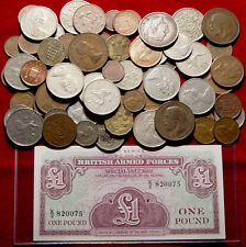 Lot Of 100 Great Britain Coins And A 1 Pound Armed Forces Voucher