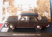 SIMCA ARONDE BACALAN 1958 IXO 1/43 NOIRE NOIR BLACK NEGGRA DIE CAST MODELS