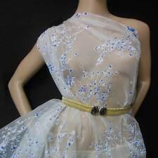 Off White Backgroud w Blue Blossom Print 100% silk organza fabric by the Yard