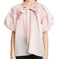 CECILIE BAHNSEN Paloma Cotton Organdie Blouse Top in Pink Size UK 6 / US 2