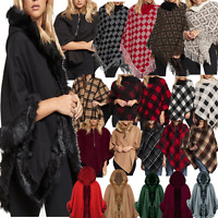 JUSTYOUROUTFIT Womens Knitted Checked Fur Lined Hood Wool Broach Fasten PONCHO