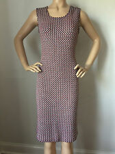 NEW ST JOHN KNIT SIZE 6 WOMENS DRESS TWEED SHEATH NAVY WHITE & CORAL RED WOOL