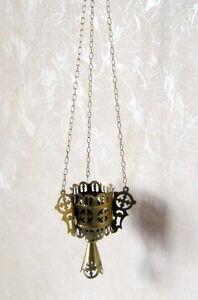 19th century ANTIQUE RUSSIAN ICON LAMP - LAMPADA.