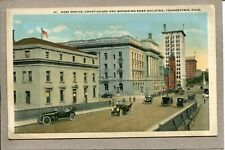 Postcard OH Youngstown Post Office Mahoning Bank Building Street Scene 2425N