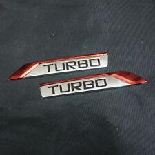 Pair Red New TURBO Chrome Metal Emblem Badge Sticker 3D Car Luxury Motors Racing