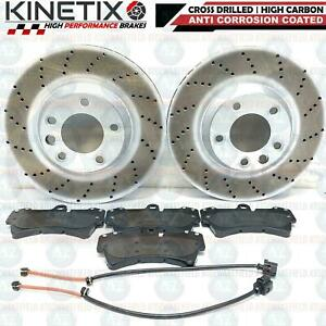 FOR AUDI Q7 FRONT DRILLED PERFORMANCE BRAKE DISCS PD PADS WIRE SENSOR 350mm