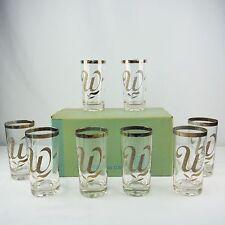 "Vintage Washington Glass Company Silver Script Monogram ""W"" 8 Pc Drinking Glass"