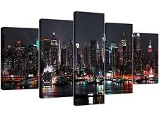 Extra Large NYC Nightime Canvas Pictures 5 Piece in Black and White