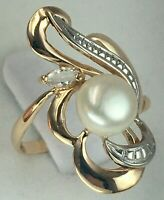 Vintage Original Rose Gold 585 14K Ring with Cultured Pearls & Cubic Zirconia