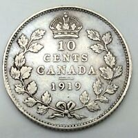 1919 Canada Ten 10 Cents Circulated Silver Dime Canadian Coin D403