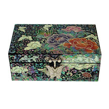 Mother of Pearl Flower Wood Travel Small Mini Jewelry Keepsake Trinket Chest Box