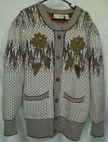 Women's Belldini Sweater Cardigan Embroidered Angora Wool Acrylic Large Vintage
