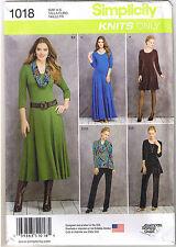 Stretch Knit Dress Tunic Pants Cowl Simplicity Sewing Pattern Sz 16 18 20 22 24