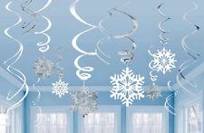12 Frozen Snowflake Swirl Hanging Party Decorations Christmas Winter Shop Window