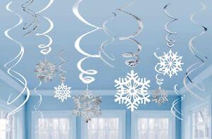 12 Frozen Snowflake Swirls Hanging Party Decorations Christmas Winter Wonderland