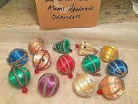 Vintage Lot Handmade Christmas Ornaments 13 Jewels Sequins Push Pins Ribbons