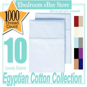 2x 1000TC SOFT 100% PURE COTTON STANDARD PILLOWCASES 48x73cm-BLUE
