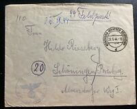 1944 Waffen SS Fieldpost Germany Stampless Cover To Schoningen