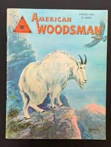 August 1953 VTG American Woodsman Magazine ~ a/s Mountain Goat Illustration