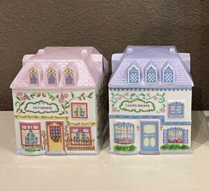 1993 Lenox Village Candy Shoppe & Nut Shoppe Canisters/Porcelain Jars Excellent