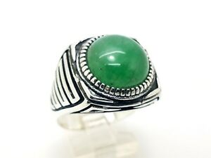 HANDMADE 925 STERLING SILVER ROUND GREEN AGATE MEN'S TURKISH RING SIZE 11.25 USA