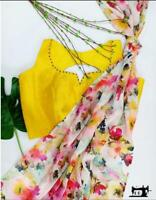 Indian Women Designer Georgette Saree Floral Digital Flower Printed Sari Blouse