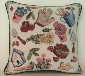 Gardening - Flowers, Tools, Plants, Fruits, Vegetables, Tapestry Pillow New