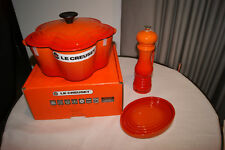Le Creuset Cast Iron Flower Casserole Pot + Spoon Rest + Pepper Mill - Volcanic