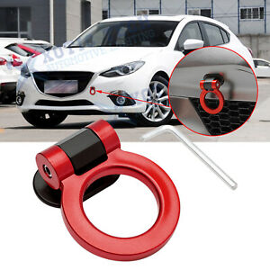 For Mazda 3 JDM Red Track Racing Style Plastic Tape Tow Hook Ring Bumper Decor