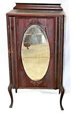 Antique Early 20th C. Cherry Wood Mirrored Music Cabinet, C. 1905-1912