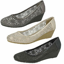 Wedge Court Spot On Textile Shoes for Women