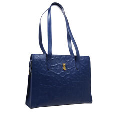 Yves Saint Laurent Logos Shoulder Tote Bag Navy Leather Vintage AK38657h