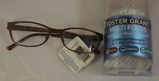 Foster Grant Charlsie Multifocus Advanced Reading Glasses +1.00 w/ Case Brown