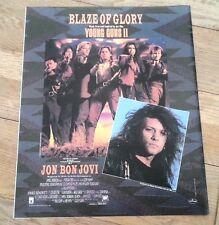 BON JOVI Blaze of Glory film  magazine ADVERT / Poster 12x10 inches