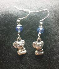 Kola Bear Earrings blue rondelle crystals Hypoallergenic