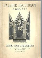 Catalogue vente aux enchères Galerie Péquignot Lausanne Mars 1946,REF E25 @@